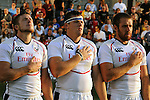 August 13, 2011:   USA players during the National Anthem prior to the Pre World Cup test match between Canada and USA's national teams at Infinity Park, Glendale, Colorado.  Canada defeated USA 27-7.     .. ...
