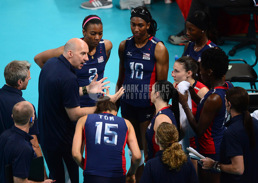 Aug 11, 2012; London , United Kingdom; USA head coach Hugh McCutcheon talks to his team during a time out against Brazil during the London 2012 Olympic Games at Earls Court. Brazil defeated USA to win the gold medal. Mandatory Credit: Mark J. Rebilas-USA TODAY Sports