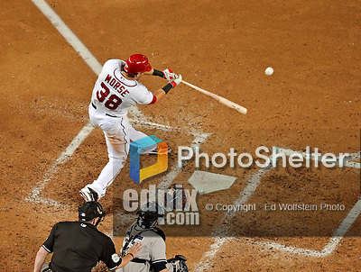 15 June 2012: Washington Nationals outfielder Michael Morse in action against the New York Yankees at Nationals Park in Washington, DC. The Yankees defeated the Nationals 7-2 in the first game of their 3-game series. Mandatory Credit: Ed Wolfstein Photo