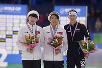 SCHAATSEN: HEERENVEEN: 15-12-2018, ISU World Cup, Podium Mass Start Men, Jaewon Chung (KOR), Cheonho Um (KOR), Bart Swings (BEL), ©foto Martin de Jong