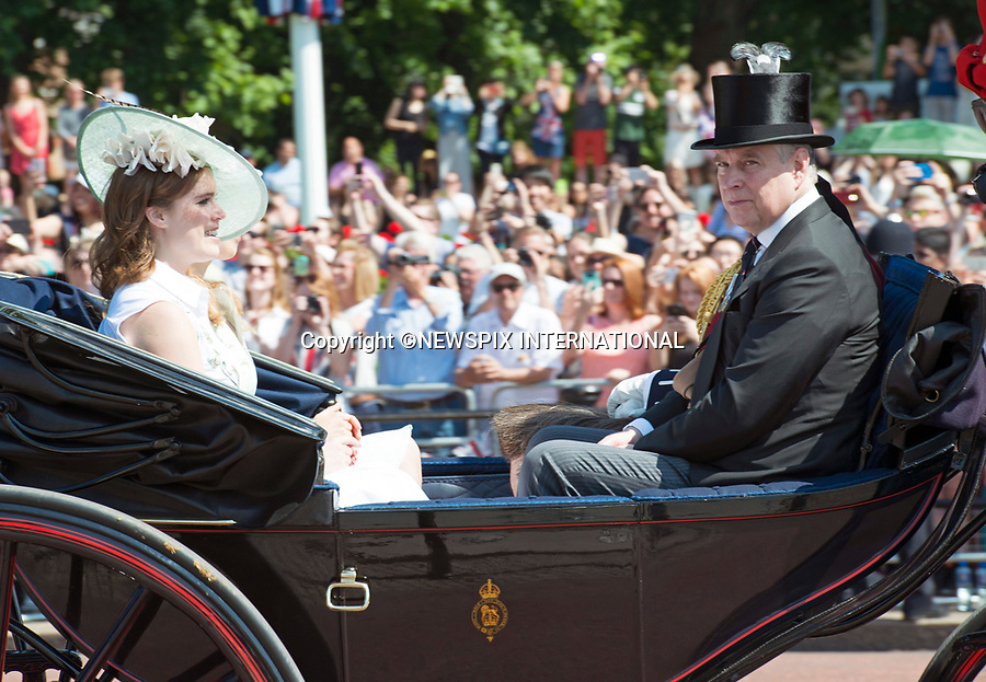 17.06.2017; London, UK: PRINCESSES EUGENIE AND PRINCE ANDREW<br /> joined other members of the royal family for the Trooping The Colour to celebrate the Queen&rsquo;s 91st Official Birthday<br /> Royals present included the Duke of Edinburgh, Prince Charles and Camilla, Duchess of Cornwall, Prince William, Kate Middleton, Prince George; Princess Charlotte; Prince Harry, Prince Andrew; Princess Beatrice, Princess Eugenie, Prince Edward, Princess Anne, Zara Phillips &amp; Mike Tindal, Prince and Princess Michael Of Kent, Lady Helen Taylor, Duke of Kent, Duke of Gloucester and Duchess of Gloucester,Peter Phillips and Autumn and Lady Amelia Windsor.<br /> Mandatory Credit Photo: &copy;Francis Dias/NEWSPIX INTERNATIONAL<br /> <br /> IMMEDIATE CONFIRMATION OF USAGE REQUIRED:<br /> Newspix International, 31 Chinnery Hill, Bishop's Stortford, ENGLAND CM23 3PS<br /> Tel:+441279 324672  ; Fax: +441279656877<br /> Mobile:  07775681153<br /> e-mail: info@newspixinternational.co.uk<br /> Usage Implies Acceptance of OUr Terms &amp; Conditions<br /> Please refer to usage terms. All Fees Payable To Newspix International
