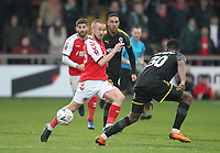 Fleetwood Town's Paddy Madden  battles with AFC Wimbledon's Paul Kalambayi <br /> <br /> Photographer Mick Walker/CameraSport<br /> <br /> Emirates FA Cup Third Round - Fleetwood Town v AFC Wimbledon - Saturday 5th January 2019 - Highbury Stadium - Fleetwood<br />  <br /> World Copyright © 2019 CameraSport. All rights reserved. 43 Linden Ave. Countesthorpe. Leicester. England. LE8 5PG - Tel: +44 (0) 116 277 4147 - admin@camerasport.com - www.camerasport.com