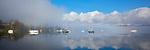 Vashon-Maury Island<br /> Clearing morning fog with moored sailboats at Dockton - Quartermaster Harbor