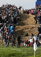 Bryson Dechambeau (Team USA) puts Phil Mickelson (Team USA) in a ridiculous location away from the 7th during Friday's Foursomes, at the Ryder Cup, Le Golf National, &Icirc;le-de-France, France. 28/09/2018.<br /> Picture David Lloyd / Golffile.ie<br /> <br /> All photo usage must carry mandatory copyright credit (&copy; Golffile | David Lloyd)
