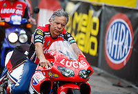 Mar 20, 2016; Gainesville, FL, USA; NHRA pro stock motorcycle rider Hector Arana Sr during the Gatornationals at Auto Plus Raceway at Gainesville. Mandatory Credit: Mark J. Rebilas-USA TODAY Sports