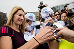 Steffi Graf of Germany, the global ambassador of Zhuhai WTA Elite Trophy 2017, signs autographs for fans during the tennis clinic at plaza of Zhuhai International Convention and Exhibition Centre on November 04, 2017 in Zhuhai, China. Photo by Yu Chun Christopher Wong / Power Sport Images