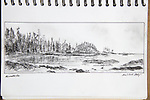 Blunden Island, Vancouver Island, charcoal on paper, Journal Art 2008,