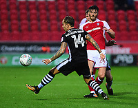 Rotherham United's Kieffer Moore vies for possession with Lincoln City's Jordan Maguire-Drew<br /> <br /> Photographer Andrew Vaughan/CameraSport<br /> <br /> The Carabao Cup First Round - Rotherham United v Lincoln City - Tuesday 8th August 2017 - New York Stadium - Rotherham<br />  <br /> World Copyright &copy; 2017 CameraSport. All rights reserved. 43 Linden Ave. Countesthorpe. Leicester. England. LE8 5PG - Tel: +44 (0) 116 277 4147 - admin@camerasport.com - www.camerasport.com