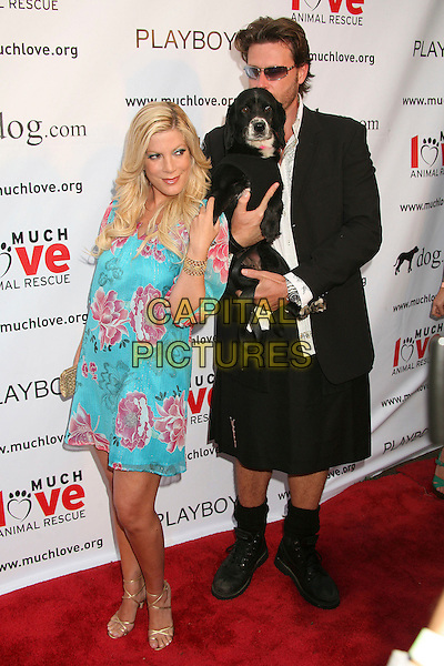 "TORI SPELLING & DEAN McDERMOTT.Much Love Animal Rescue's ""Bow Wow Wow"" Benefit at the Playboy Mansion, Beverly Hills, California , USA, .14 July 2007..full length turquoise pink flower print tunic dress dsog animal pet kilt.CAP/ADM/BP.©Byron Purvis/AdMedia/Capital Pictures."