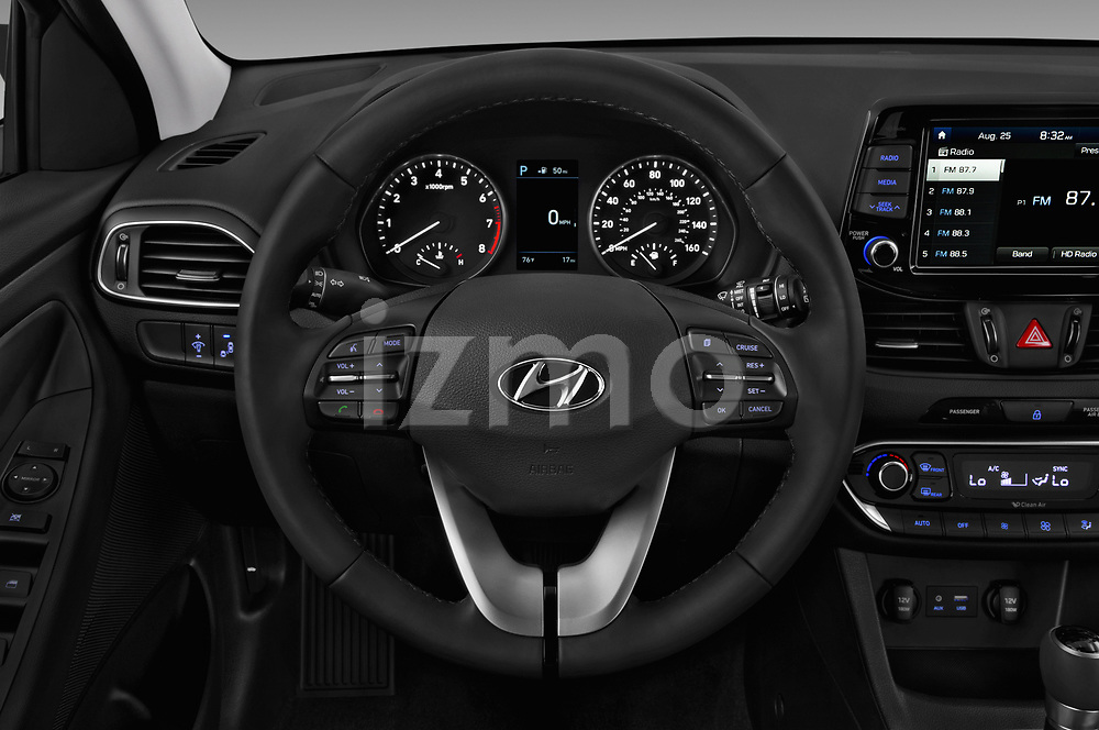 Car pictures of steering wheel view of a 2018 Hyundai Elantra GT GT Auto 5 Door Hatchback