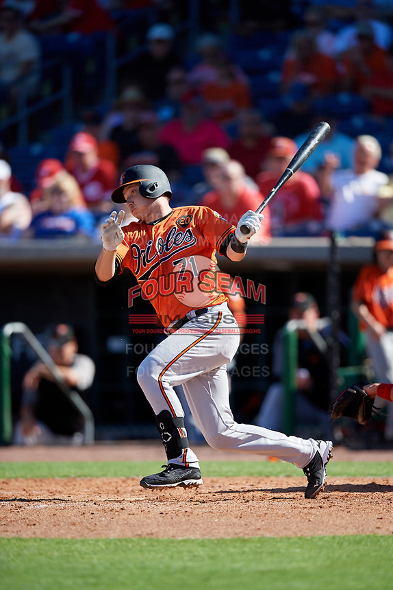 Baltimore Orioles second baseman Zach Vincej (71) follows through on a swing during a Grapefruit League Spring Training game against the Philadelphia Phillies on February 28, 2019 at Spectrum Field in Clearwater, Florida.  Orioles tied the Phillies 5-5.  (Mike Janes/Four Seam Images)