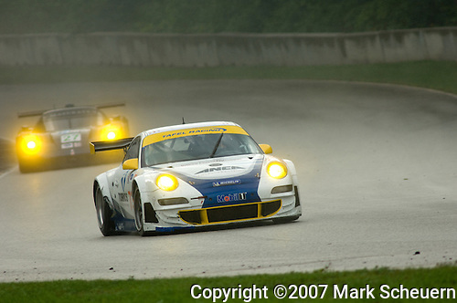 11 August 2007: The Tafel Racing Porsche 911 GT3 RSR driven by Jim Tafel and Dominik Farnbacher at the Generac 500 at Road America, Elkhart Lake, WI