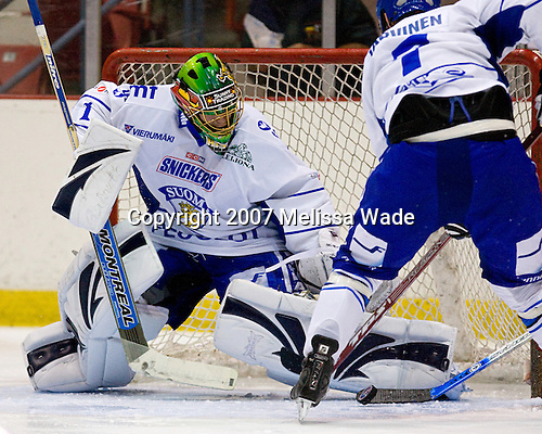 Riku Helenius (Finland/Seattle Thunderbirds - Finland), Joonas Jarvinen (Finland/Turku TPS - Finland) - USA Team Blue defeated Team Finland 4-1 on Friday, August 10, 2007, at the 1980 Rink at Lake Placid, New York during the Summer Hockey Challenge.