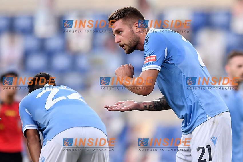 Sergej Milinkovic Savic of Lazio<br /> during the Serie A football match between SS Lazio  and Brescia Calcio at stadio Olimpico in Roma (Italy), July 29th, 2020. Play resumes behind closed doors following the outbreak of the coronavirus disease. <br /> Photo Antonietta Baldassarre / Insidefoto