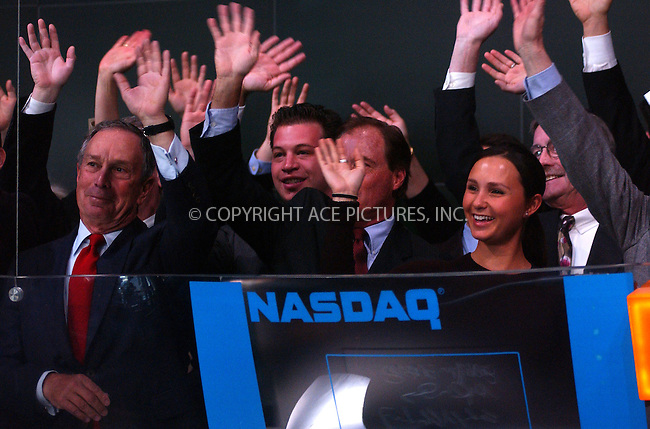 WWW.ACEPIXS.COM . . . . . ....March 30 2006, New York City......Mayor Michael Bloomberg and his daughter Georgina, who is and expert horsewoman, ring the opening bell and welcome Dover Saddlery to the Nasdaq Exchange. Subsequently Georgina posed in Times Square on horseback.......Please byline: KRISTIN CALLAHAN - ACEPIXS.COM.. . . . . . ..Ace Pictures, Inc:  ..Philip Vaughan (212) 243-8787 or (646) 769 0430..e-mail: info@acepixs.com..web: http://www.acepixs.com