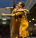 Motherwell's Nicky Law (right) is congratulated by Jamie Murphy  as he celebrates after he scores Motherwell's second goal...
