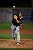 Lake Elsinore Storm relief pitcher David Bednar (24) follows through on his delivery during a California League game against the Rancho Cucamonga Quakes at LoanMart Field on May 19, 2018 in Rancho Cucamonga, California. Lake Elsinore defeated Rancho Cucamonga 10-7. (Zachary Lucy/Four Seam Images)
