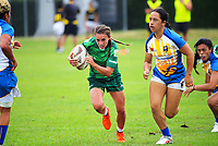 Selica Winiata in action during the women's pool match between Manawatu and Bay Of Plenty on day one of the 2018 Bayleys National Sevens at Rotorua International Stadium in Rotorua, New Zealand on Saturday, 13 January 2018. Photo: Dave Lintott / lintottphoto.co.nz