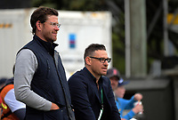 Former Black Caps Jacob Oram and Nathan McCullum watch the One Day International cricket match between the NZ Black Caps and Pakistan at the Basin Reserve in Wellington, New Zealand on Saturday, 6 January 2018. Photo: Dave Lintott / lintottphoto.co.nz