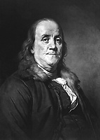 Benjamin Franklin.  Copy of painting by Joseph Duplessis, ca.  1794-1802.  (George Washington Bicentennial Commission)<br /> Exact Date Shot Unknown