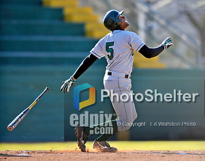 15 April 2008: Dartmouth College Big Green outfielder and Team Co-Captain Damon Wright, a Senior from Dallas, Texas, in action against the University of Vermont Catamounts at Historic Centennial Field in Burlington, Vermont. The Catamounts rallied from a 7-3 deficit to win 8-7 over Dartmouth in a non-conference NCAA game...Mandatory Photo Credit: Ed Wolfstein Photo