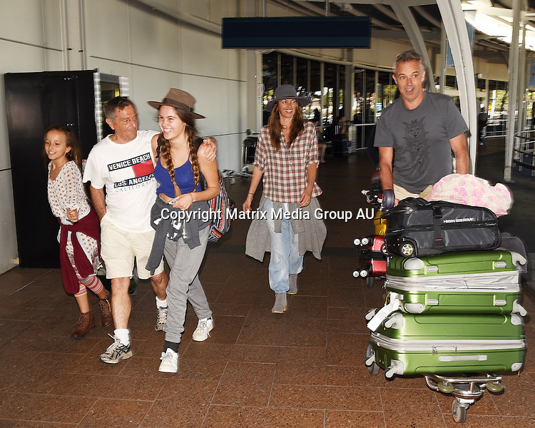 14th December, 2015 <br /> Sydney, NSW, AUSTRALIA<br /> <br /> EXCLUSIVE PICTURES<br /> Cameron Daddo, (Captain Von Trapp) with wife, Alison Brahe, kids, andrew, lochie, jamie, belinda, and grandpa Brahe as they arrive at Sydney International Airport.<br /> <br /> *ALL WEB USE MUST BE CLEARED*<br /> <br /> Please contact prior to use:  <br /> <br /> +61 2 9211-1088 or email images@matrixmediagroup.com.au <br /> <br /> Note: All editorial images subject to the following: For editorial use only. Additional clearance required for commercial, wireless, internet or promotional use.Images may not be altered or modified. Matrix Media Group makes no representations or warranties regarding names, trademarks or logos appearing in the images.