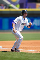 Sean O'Connell (35) of the Winston-Salem Dash takes his lead off of third base against the Carolina Mudcats at BB&T Ballpark on April 22, 2015 in Winston-Salem, North Carolina.  The Dash defeated the Mudcats 4-2..  (Brian Westerholt/Four Seam Images)