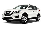 Stock pictures of low aggressive front three quarter view of 2017 Nissan Rogue S 5 Door SUV Low Aggressive