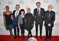 Oge Egbuono &amp; Peter Saraf &amp; Nancy Buirski &amp; Sarah Green &amp; Colin Firth &amp; Ged Doherty at the 2017 Producers Guild Awards at The Beverly Hilton Hotel, Beverly Hills, USA 28th January  2017<br /> Picture: Paul Smith/Featureflash/SilverHub 0208 004 5359 sales@silverhubmedia.com