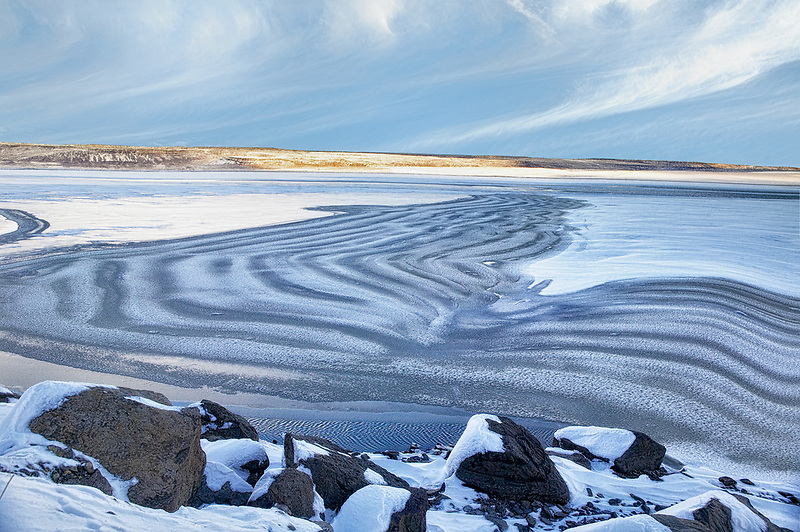 Ice formations on frozen Crump lake. Oregon