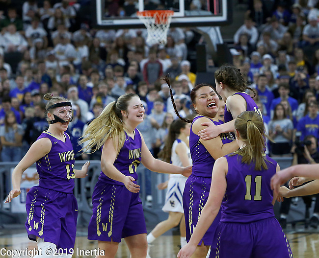Sioux Falls, SD: MARCH 16:  Winner players celebrate after defeating West Central during the 2019 South Dakota State A Girls Championship at the Denny Sanford Premier Center in Sioux Falls, SD.  (Photo by Dick Carlson/Inertia)