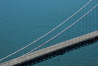 aerial photograph San Francisco Oakland Bay Bridge western suspension span empty during bridge closure