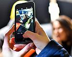 """05.12.2019, Baywa-Gelaende, Memmingen, GER, Bauern-Demonstration in Memmingen, Ueber 4000 Bauern demonstrierten mit fast 3000 Traktoren in Memmingen. Organisiert wurde die Demo von """"Land schafft Verbindung"""". Auf der anschliesenden Kundgebung sprach ua. die bayr. Landwirtschaftsministerin Michaela Kaniber, <br /> im Bild die bayerische Landwirtschaftsministerin Michaela Kaniber (CSU), Foto mit dem Smartphone<br /> <br /> Foto © nordphoto / Hafner"""