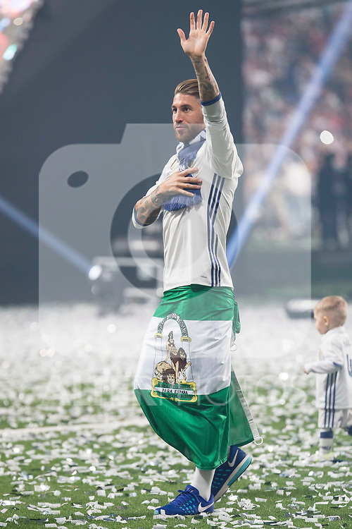Real Madrid Sergio Ramos during the celebration of the 13th UEFA Championship at Santiago Bernabeu Stadium in Madrid, June 04, 2017. Spain.<br /> (ALTERPHOTOS/BorjaB.Hojas)