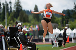 EUGENE, OR - JUNE 10: Kara Hallock of Oregon State University competes in the long jump as part of the Heptathlon during the Division I Women's Outdoor Track & Field Championship held at Hayward Field on June 10, 2017 in Eugene, Oregon. (Photo by Jamie Schwaberow/NCAA Photos via Getty Images)