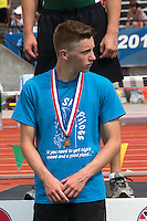 Jackson sophomore Dakota Maddox stands on the awards podium after receiving his 8th-place medal in the Class 4 pole vault after clearing 13-6 at the 2014 MSHSAA Class 3-4 State Track and Field Championships, Saturday, May 31, in Jefferson City, MO.