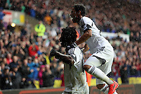 Sunday, 26 April 2014<br /> Pictured L-R: Wilfried Bony of Swansea celebrating his opening goal with team mate Jonathan de Guzman.<br /> Re: Barclay's Premier League, Swansea City FC v Aston Villa at the Liberty Stadium, south Wales.