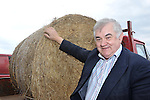 "27-3-2013: The last two bails?. Mart Manager Richard Hartnett with  the last two bails of hay for sale at Castleisland Mart in County Kerry on Wednesday..Picture by Don MacMonagle.Story by Majella O""Sullivan"