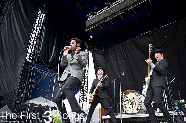 Ty Taylor, Nalle Colt, and Rick Barrio Dill  of Vintage Trouble perform during the The Beale Street Music Festival in Memphis, Tennessee.