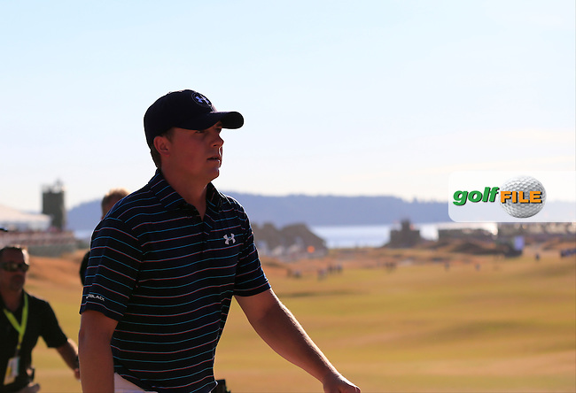Jordan Speith (USA) finishes on the 18th green during Sunday's Final Round of the 2015 U.S. Open 115th National Championship held at Chambers Bay, Seattle, Washington, USA. 6/22/2015.<br /> Picture: Golffile   Eoin Clarke<br /> <br /> <br /> <br /> <br /> All photo usage must carry mandatory copyright credit (&copy; Golffile   Eoin Clarke)