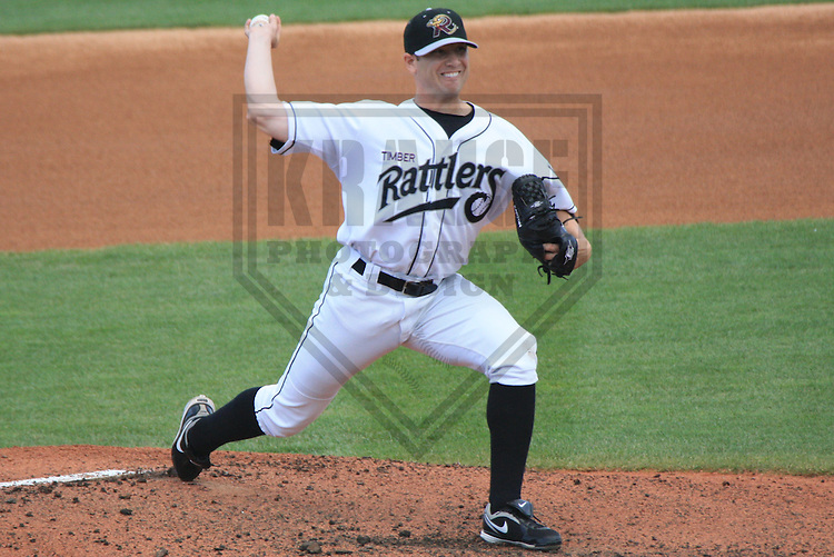 APPLETON - MAY 2010: Maverick Lasker (13) of the Wisconsin Timber Rattlers, Class-A affiliate of the Milwaukee Brewers, during a game on June 9, 2010 at Fox Cities Stadium in Appleton, Wisconsin. (Photo by Brad Krause)