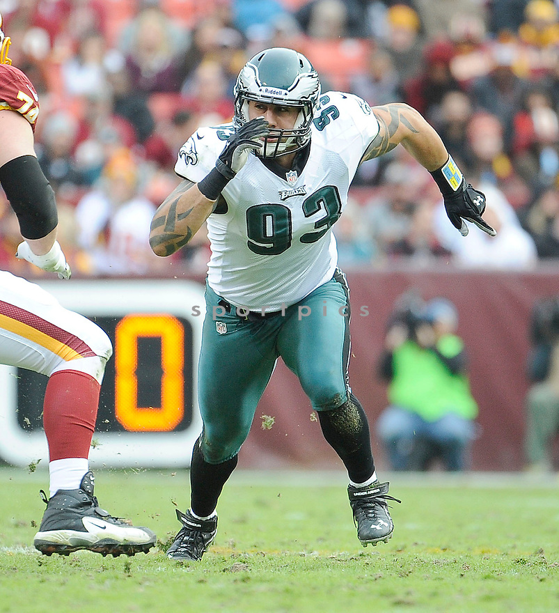 Philadelphia Eagles Jason Babin (93) in action during a game against the Redskins on November 18, 2012 at FedExField in Washington, DC. The Redskins beat the Eagles 31-6.
