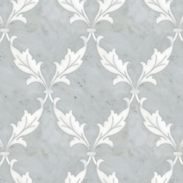 Tamara, a natural stone waterjet mosaic shown in Carrara and Thassos, is part of the Silk Road Collection by Sara Baldwin for New Ravenna Mosaics. <br />