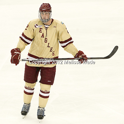 Brian Dumoulin (BC - 2) - The Boston College Eagles defeated the University of Minnesota Golden Gophers 6-1 in their 2012 Frozen Four semi-final on Thursday, April 5, 2012, at the Tampa Bay Times Forum in Tampa, Florida.
