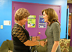 Bellmore, New York, USA. September 16, 2014. At right, KATHLEEN RICE, Democratic congressional candidate (NY-04), speaks with BARBARA SALVA, of LITAC, Long Island Transgender Advocacy Coalition. Rice, joined by local LGBT actvitists, called for congressional action both to pass legislation prohibiting employment discrimination on basis of sexual orientation and gender identity, and to fully repeal the Defense of Marriage Act. Rice first toured Pride For Youth, a program that provides services for lesbian, gay, bisexual and transgender youth and their families, and a division of the Long Island Crisis Center. Rice is in her third term as Nassau County District Attorney.