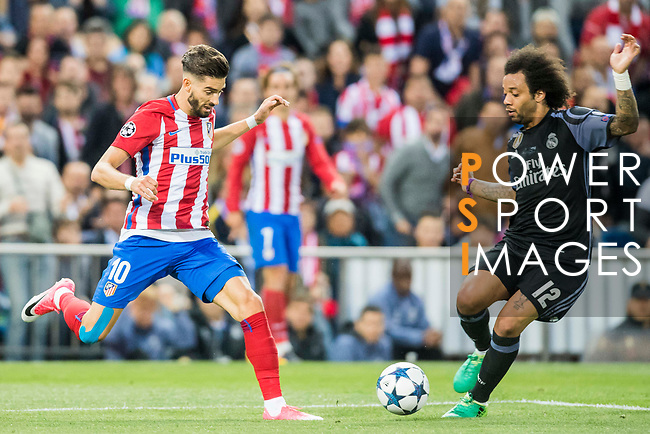 Yannick Ferreira Carrasco (l) of Atletico de Madrid fights for the ball with Marcelo Vieira Da Silva of Real Madrid during their 2016-17 UEFA Champions League Semifinals 2nd leg match between Atletico de Madrid and Real Madrid at the Estadio Vicente Calderon on 10 May 2017 in Madrid, Spain. Photo by Diego Gonzalez Souto / Power Sport Images