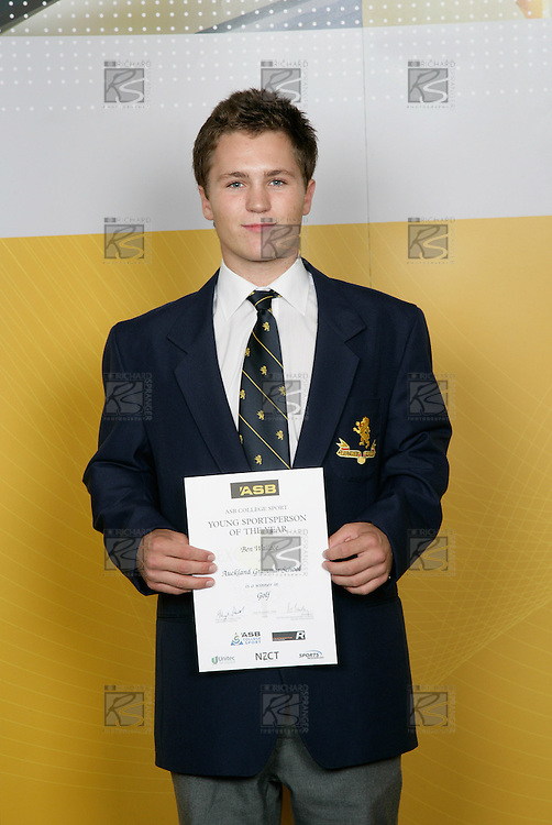 Golf Boys Winner - Ben Wallace. ASB College Sport Young Sportsperson of the Year Awards 2006, held at Eden Park on Thursday 16th of November 2006.<br />