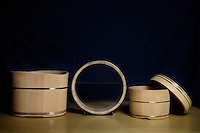 Wooden buckets made by Eifu Kawabata of Okeei