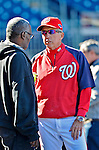 11 October 2012: Washington Nationals Manager Davey Johnson chats with MLB.com reporter Bill Ladson prior to Postseason Playoff Game 4 of the National League Divisional Series against the St. Louis Cardinals at Nationals Park in Washington, DC. The Nationals defeated the Cardinals 2-1 on a 9th inning, walk-off solo home run by Jayson Werth, tying the Series at 2 games apiece. Mandatory Credit: Ed Wolfstein Photo