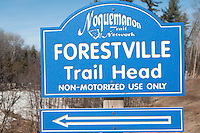 Trailhead sign for the Noquemanon Trails nordic ski trails in Marquette Michigan.